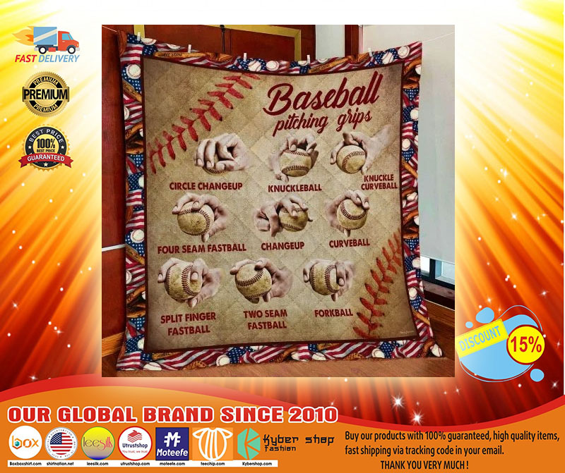Baseball Pitching Grips Quilt Blanket4