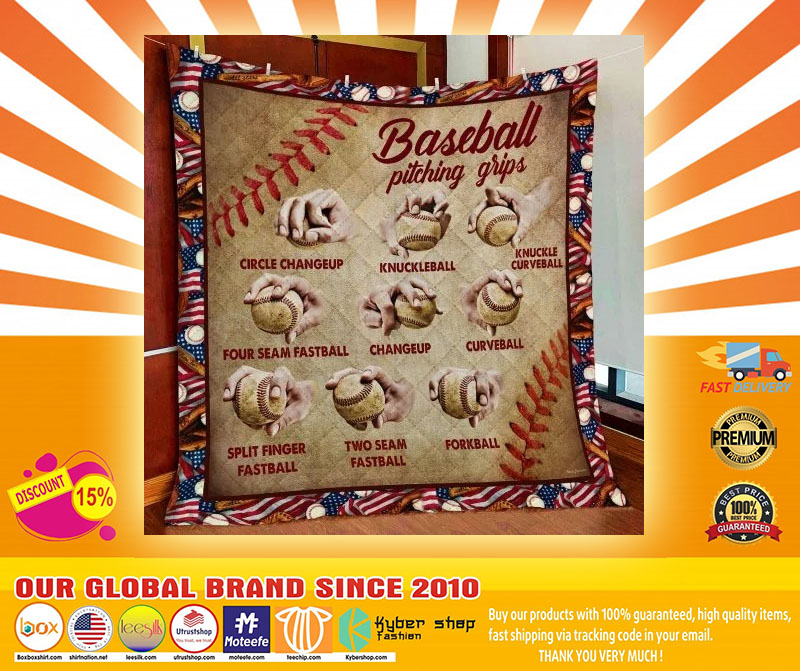 Baseball Pitching Grips Quilt Blanket5