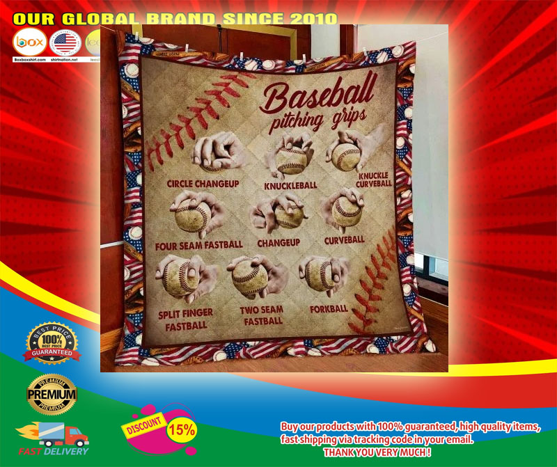 Baseball Pitching Grips Quilt Blanket6