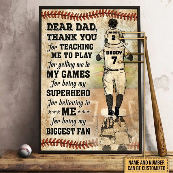 Baseball dear dad thank you for teach me to play custom name and number poster
