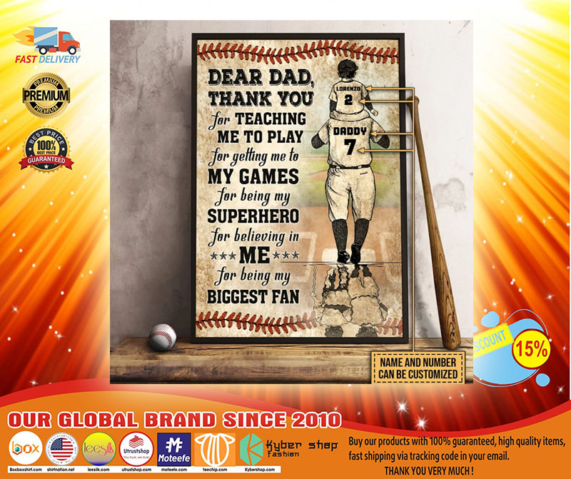 Baseball dear dad thank you for teach me to play custom name and number poster4