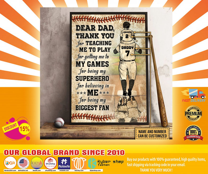 Baseball dear dad thank you for teach me to play custom name and number poster5