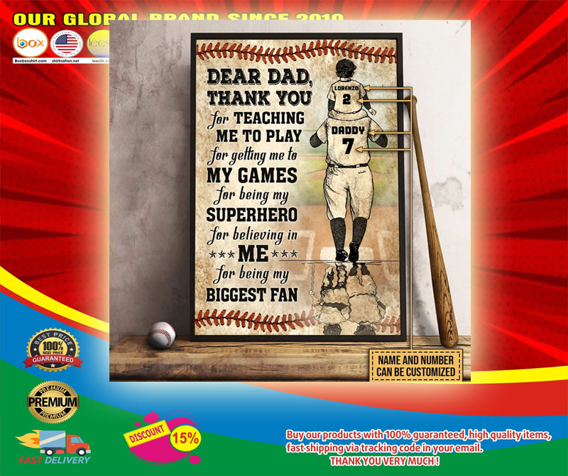 Baseball dear dad thank you for teach me to play custom name and number poster6