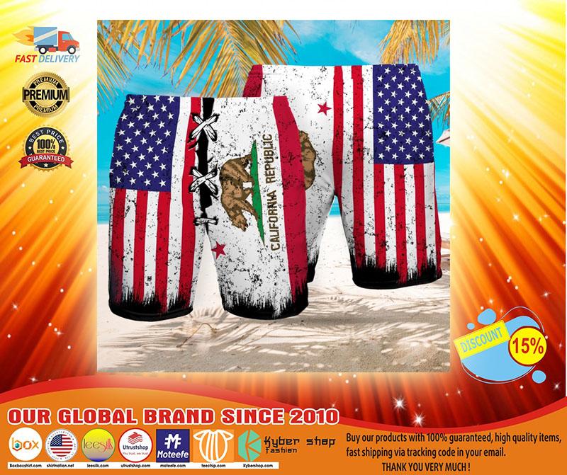 Bear American flag California republic Beach hawaiian short3