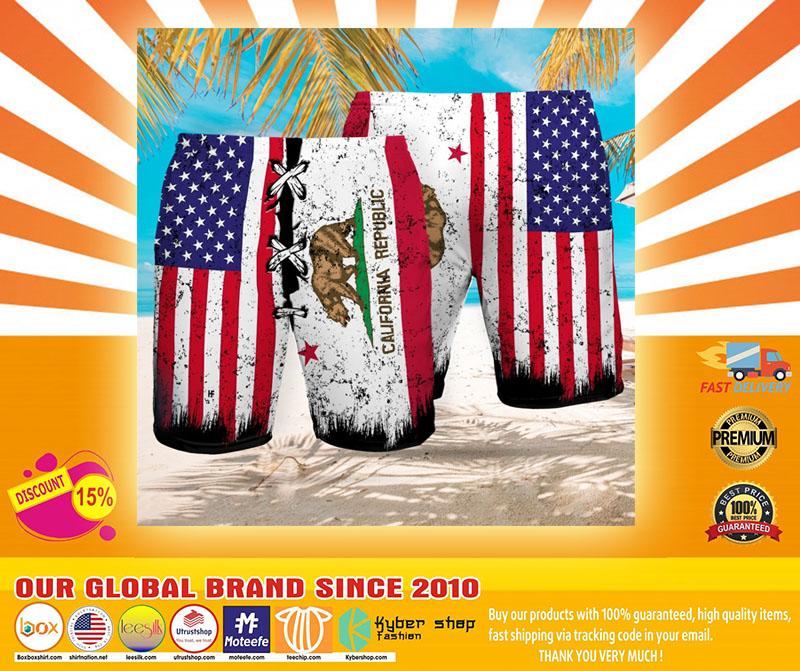 Bear American flag California republic Beach hawaiian short4