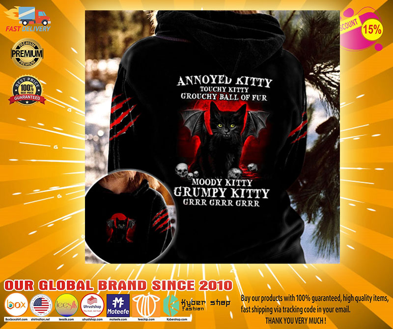 Black cat Annoyed kitty touchy kitty grouchy ball of fur moody grumpy kitty 3D hoodie2 1