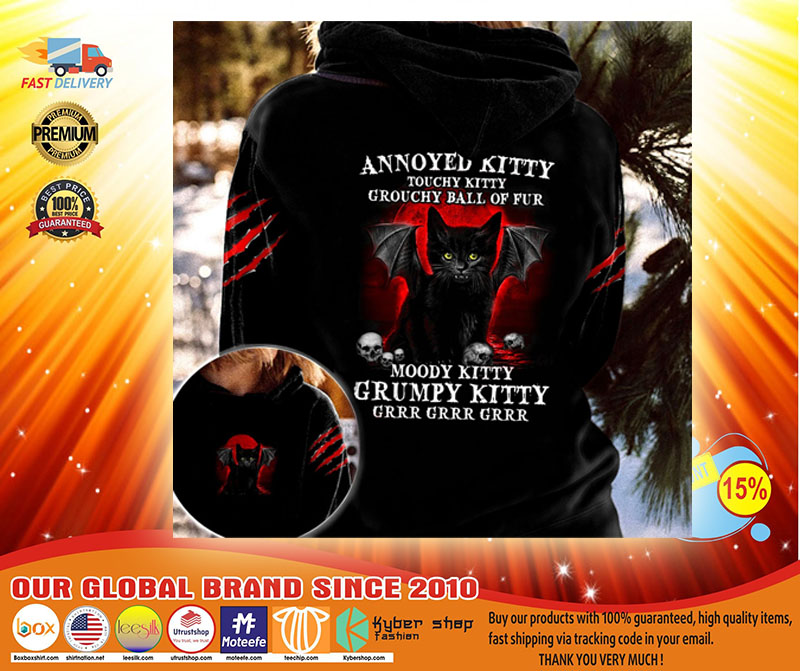Black cat Annoyed kitty touchy kitty grouchy ball of fur moody grumpy kitty 3D hoodie3