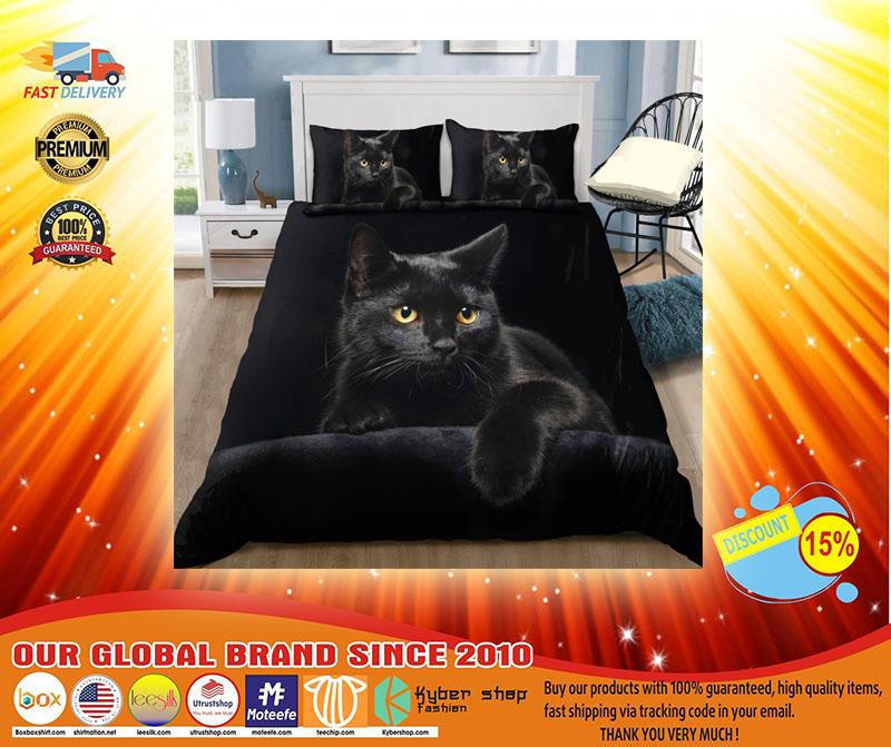 Black cat on the night bedding set3