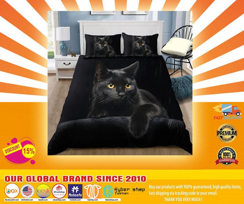 Black cat on the night bedding set4