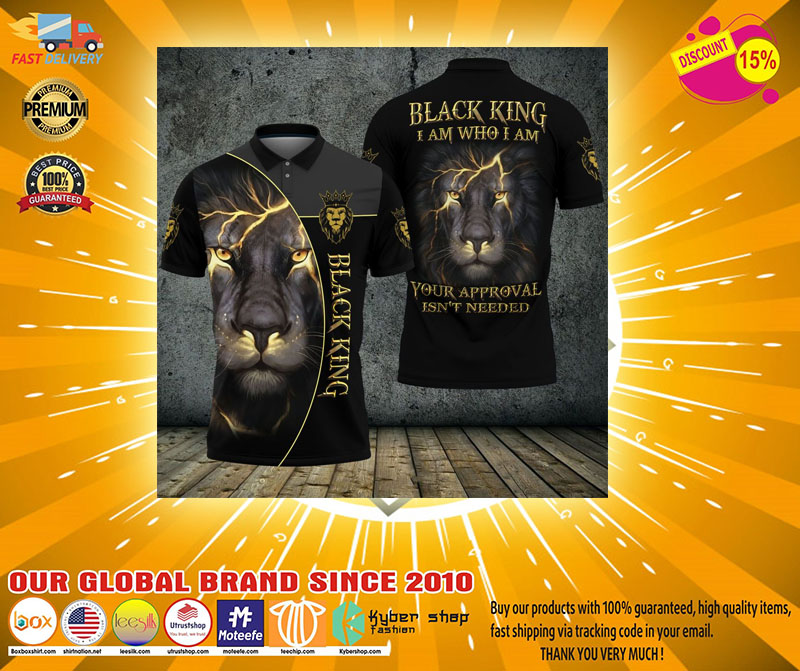 Black lion ling I am who I am your approval isnt needed polo shirt2