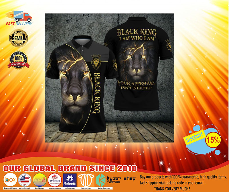 Black lion ling I am who I am your approval isnt needed polo shirt3