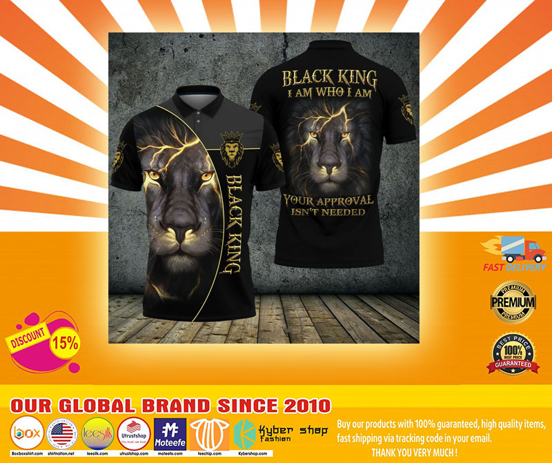Black lion ling I am who I am your approval isnt needed polo shirt4
