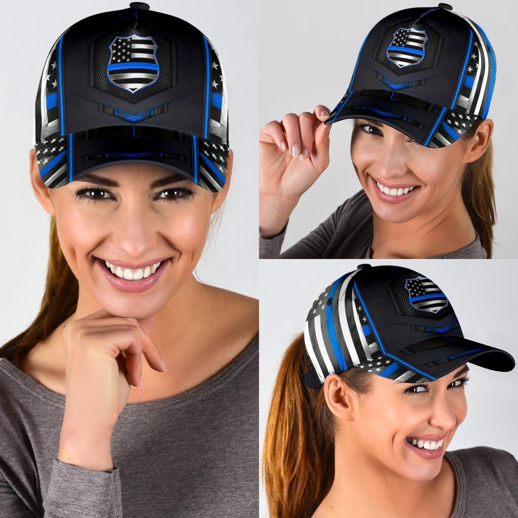Blue police flag cap3