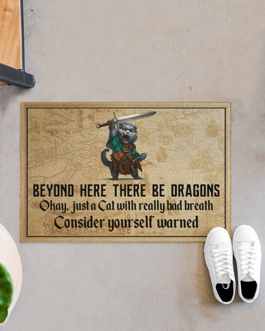 Cat with sword beyond here there be dragons doormat3