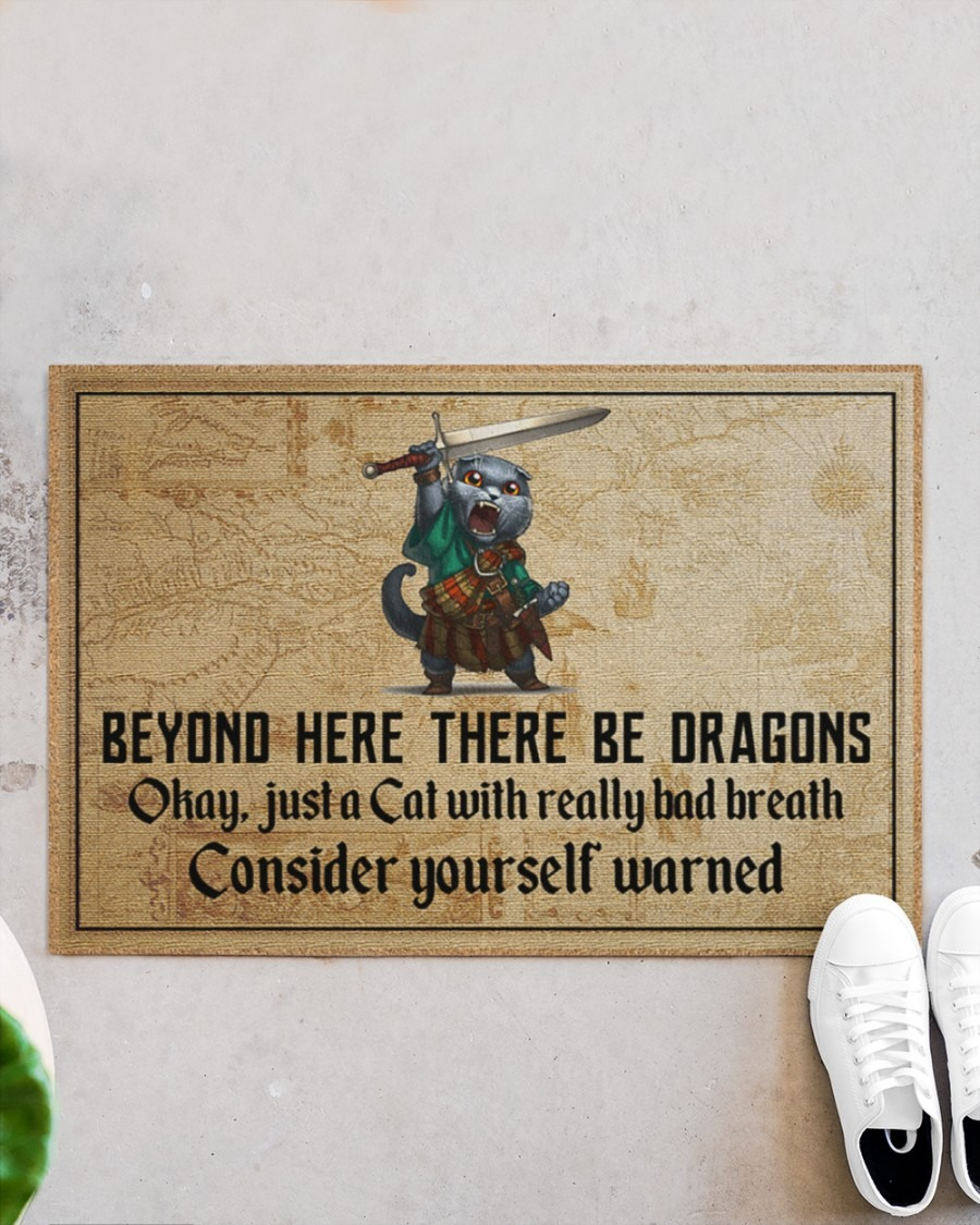 Cat with sword beyond here there be dragons doormat4