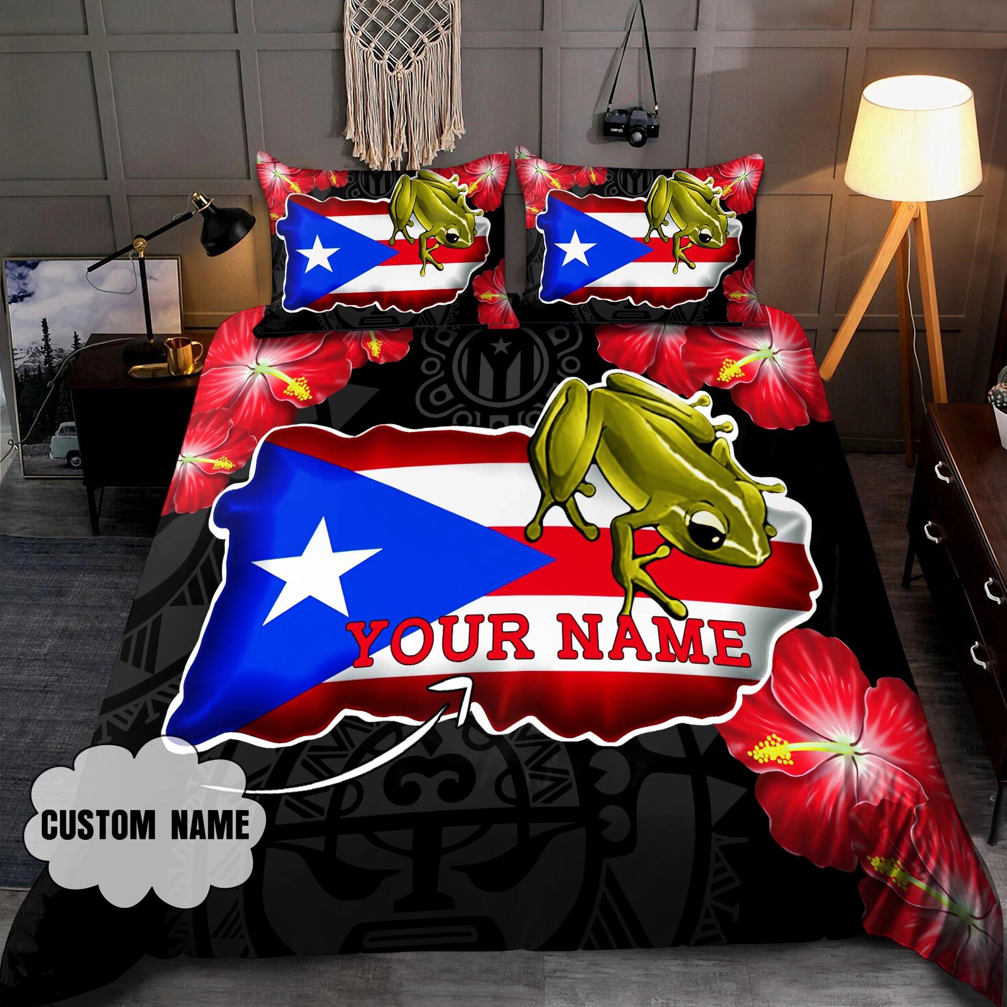 Coqui and love puerto rico custom name bedding set2