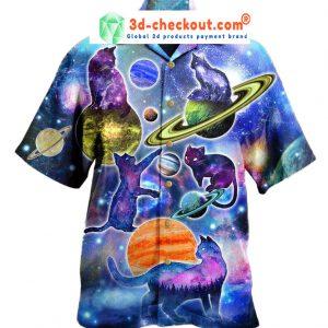 Cosmic Cats Galaxy Fun Hawaiian Shirt