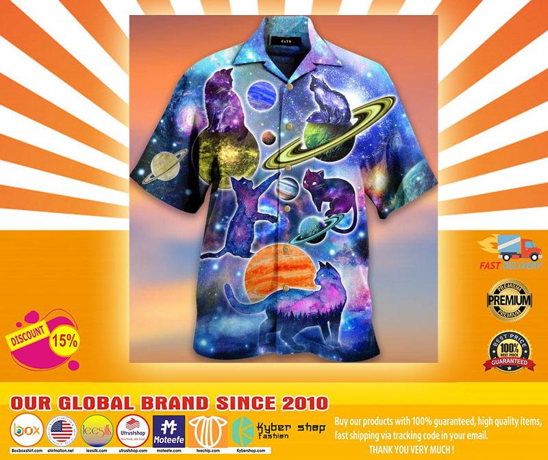 Cosmic Cats Galaxy Fun Hawaiian Shirt4