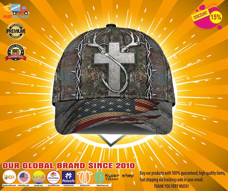 Cross American flag christian hunting fishing cap21