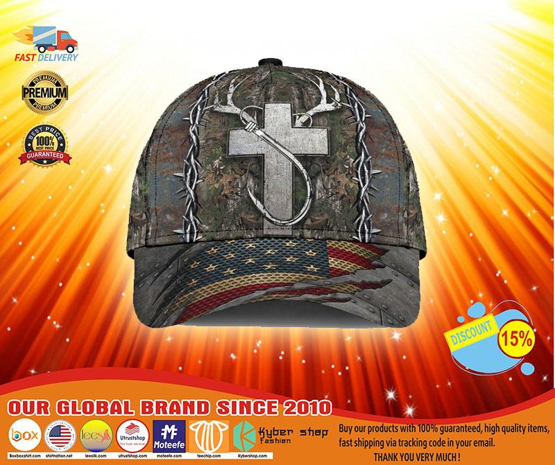 Cross American flag christian hunting fishing cap3