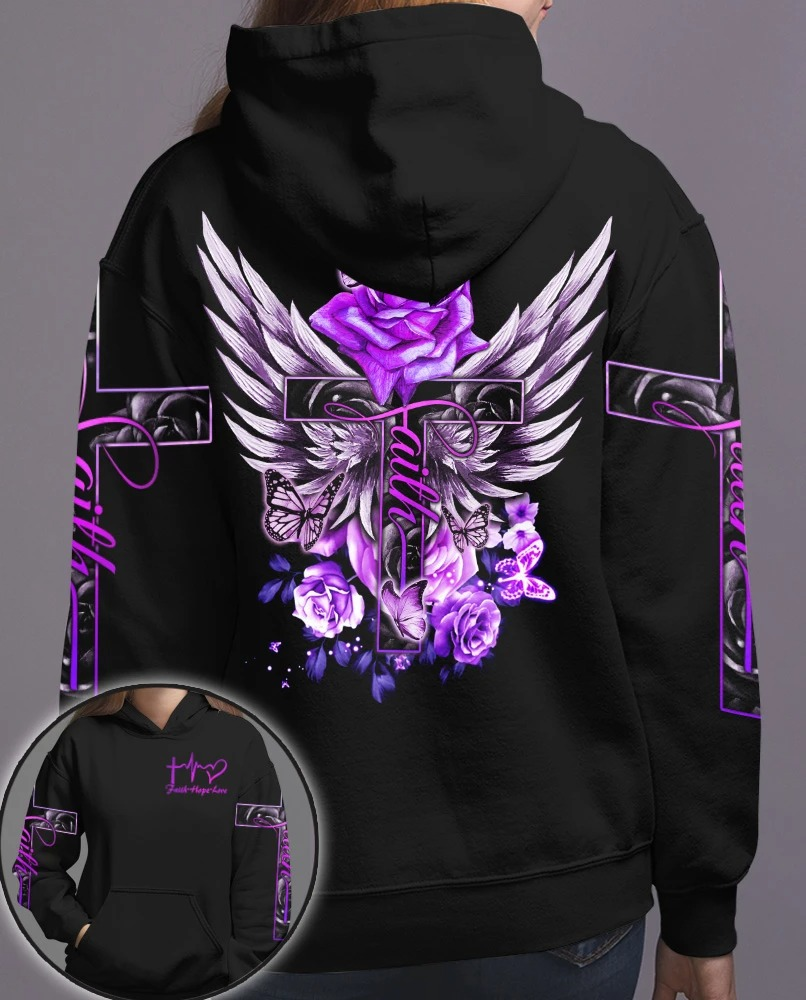 Cross purple rose butterfly faith 3D hoodie