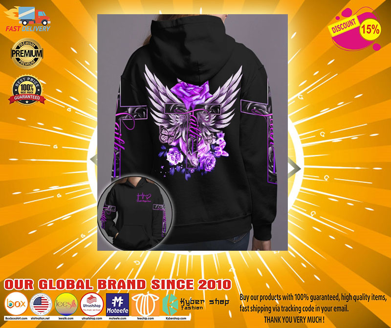 Cross purple rose butterfly faith 3D hoodie2