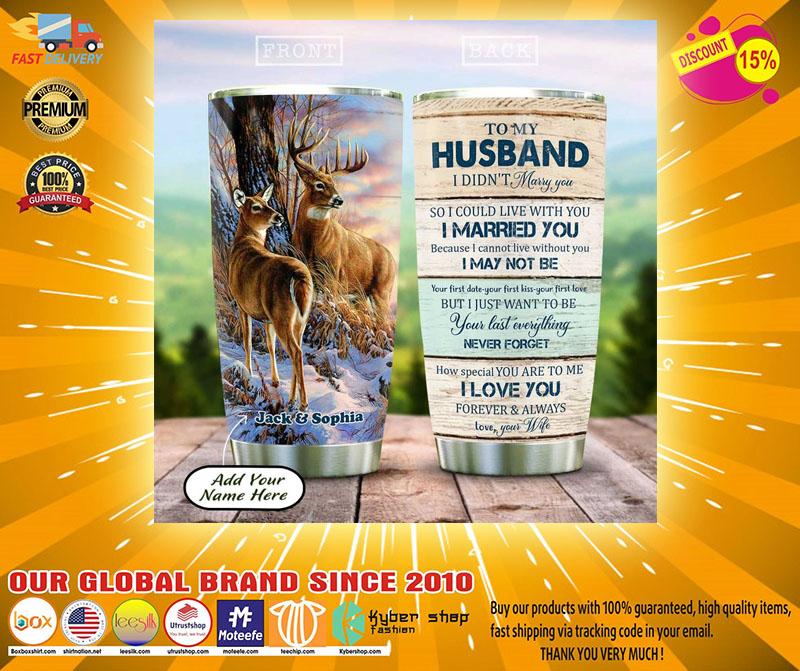 Deer couple to my husband custom name tumbler2