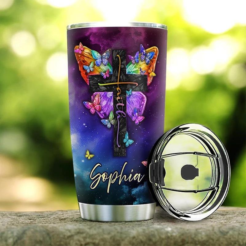 Faith butterfly I can do all things through christ custom name tumbler3