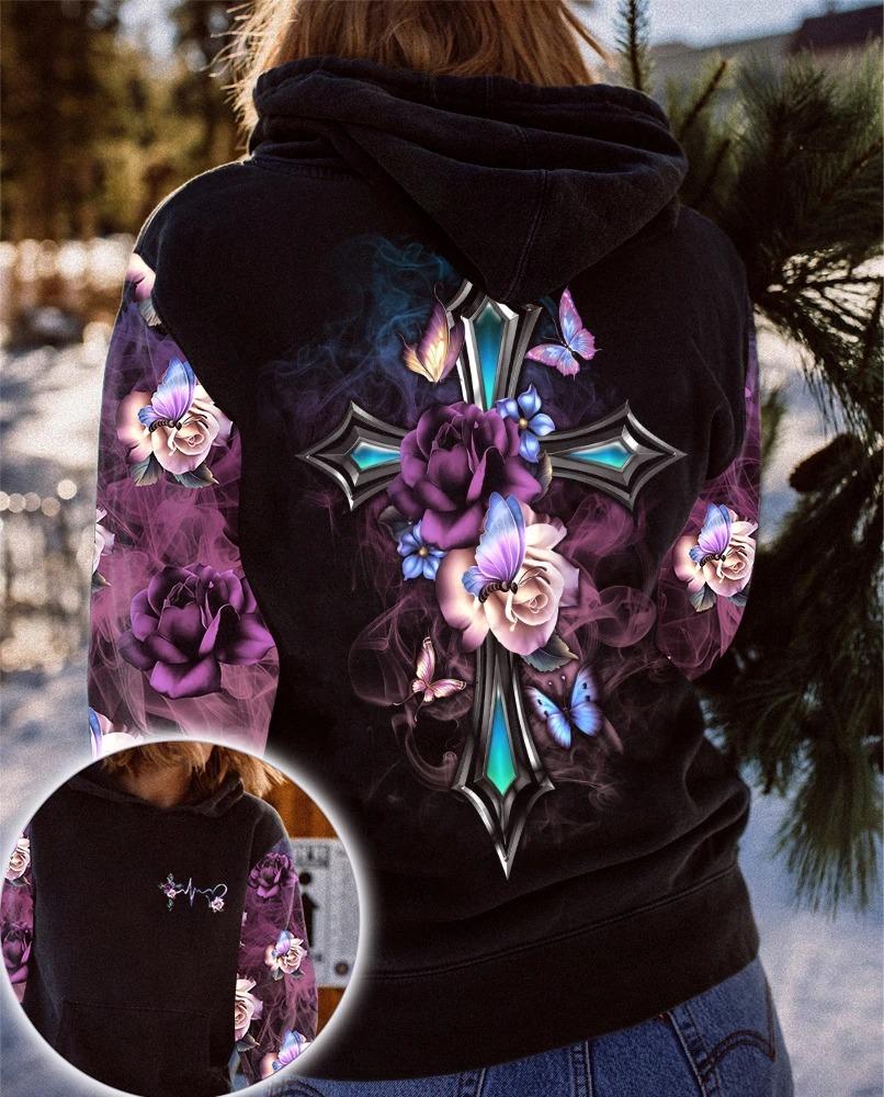Faith cross floral butterfly 3D hoodie