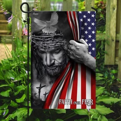 Faith over fear god Jesus American flag3