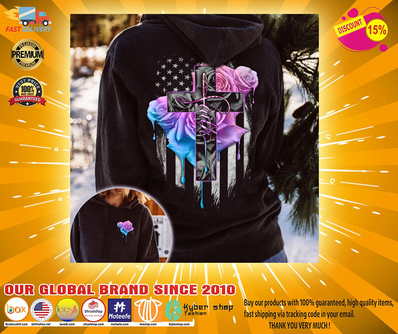 Faith rose skull watercolor 3D hoodie2 1