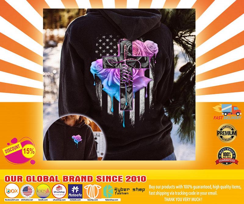 Faith rose skull watercolor 3D hoodie4