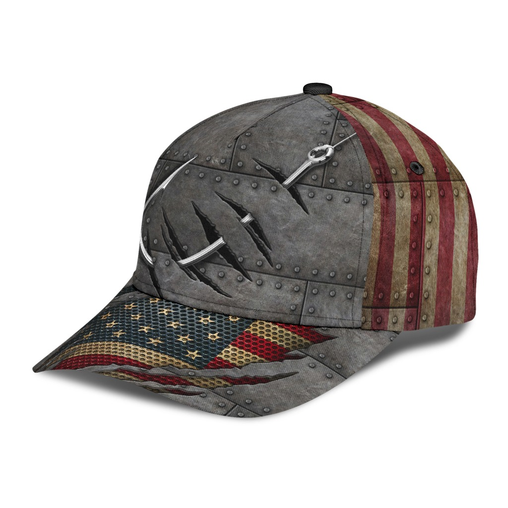 Fishing American flag cap2