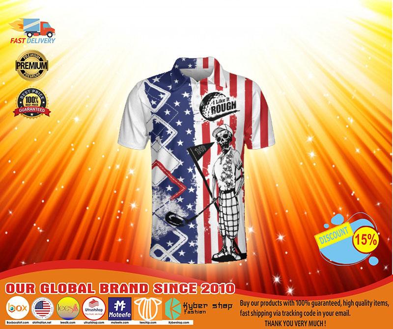 Golf American flag I like it rough polo shirt4