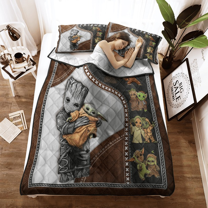 Groot and baby Yoda friend quilt bedding set3 1
