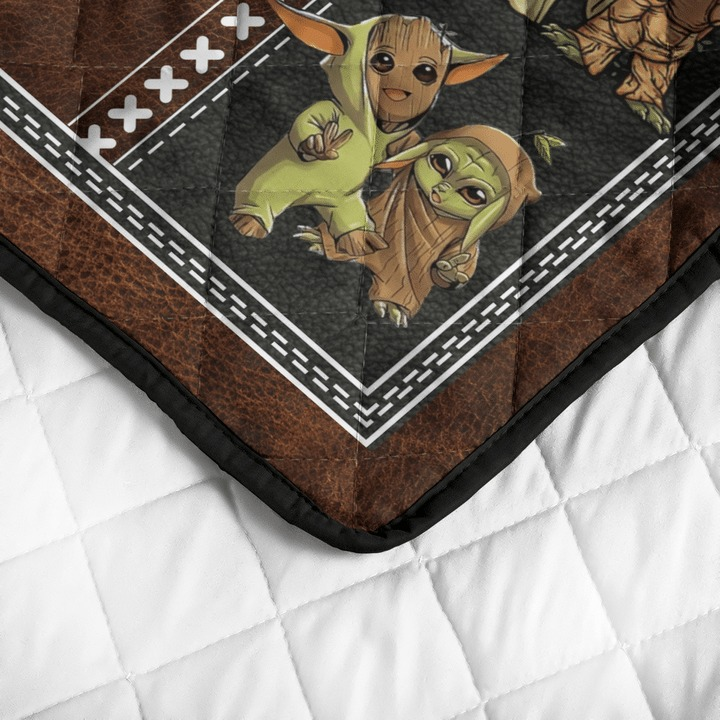 Groot and baby Yoda friend quilt bedding set4 1