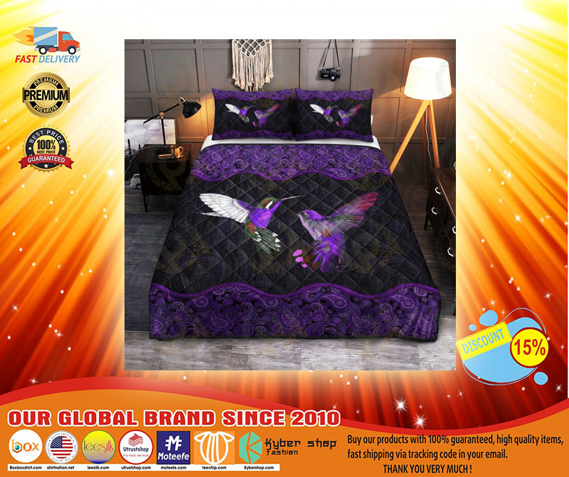 Hummingbird couple purple quilt bedding set4
