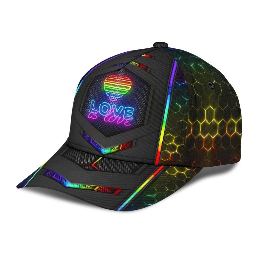 LGBT neon hexagon love is love cap2
