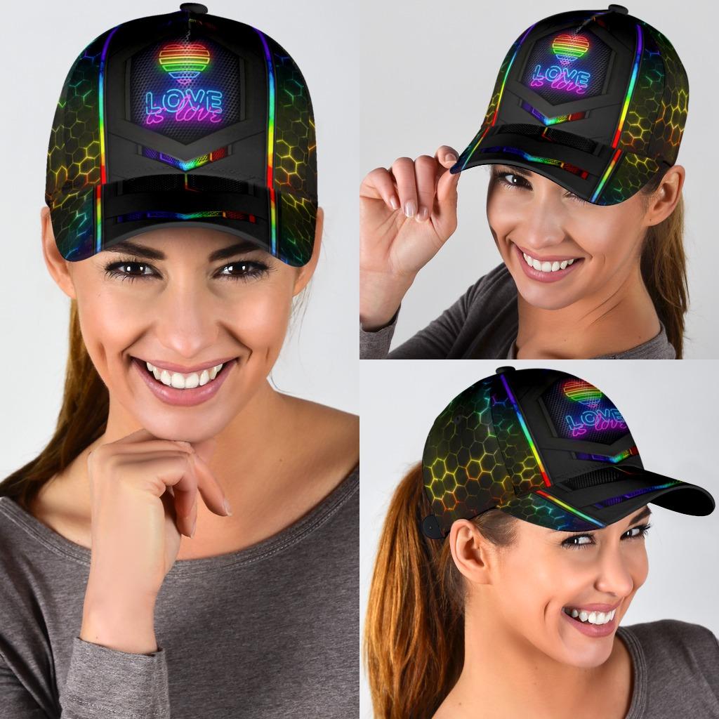 LGBT neon hexagon love is love cap3