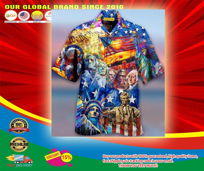 My Patriotic Heart Beats Red White and Blue Hawaiian Shirt5