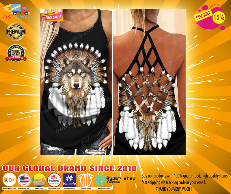 Native American wolf Criss cross Strappy tank top2