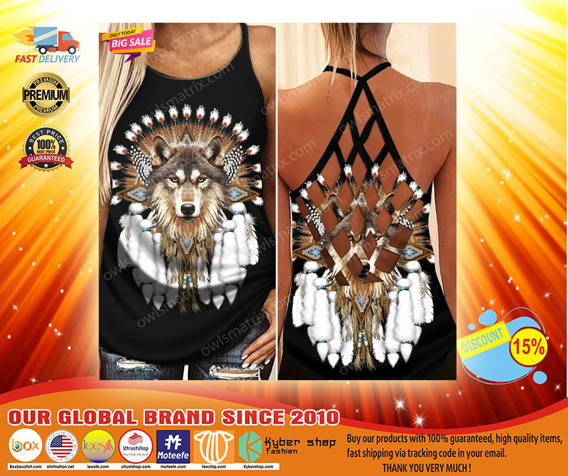 Native American wolf Criss cross Strappy tank top3