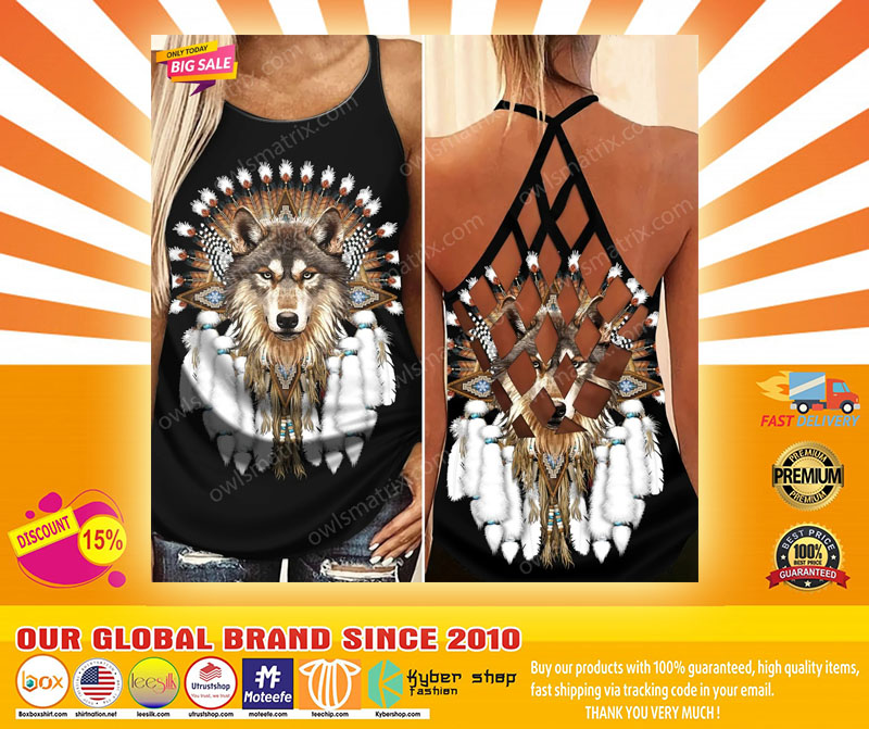 Native American wolf Criss cross Strappy tank top4