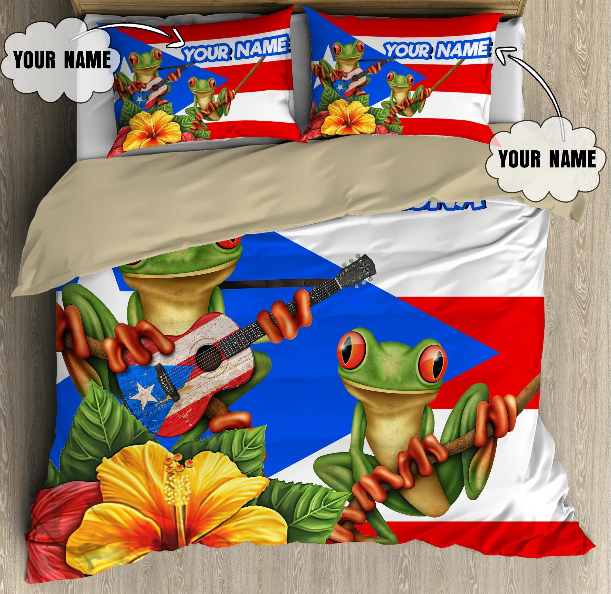 Puerto rico boricua hasta enla luna custom name bedding set3