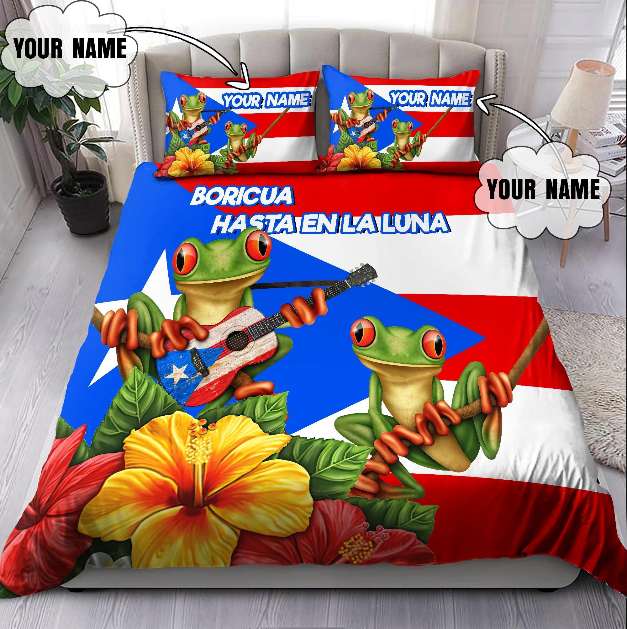 Puerto rico boricua hasta enla luna custom name bedding set4