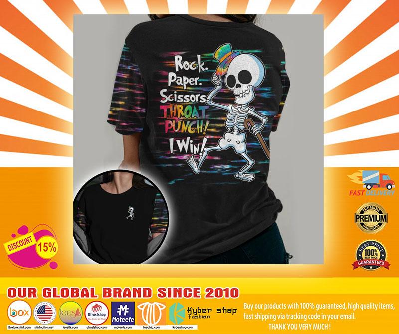 Skeleton rock paper throat punch I win 3D hoodie4
