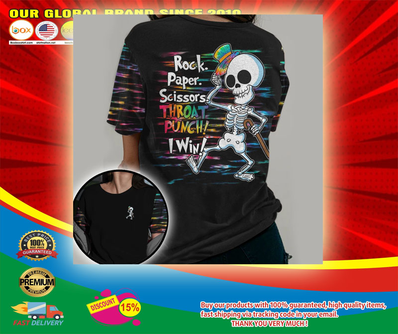 Skeleton rock paper throat punch I win 3D hoodie5