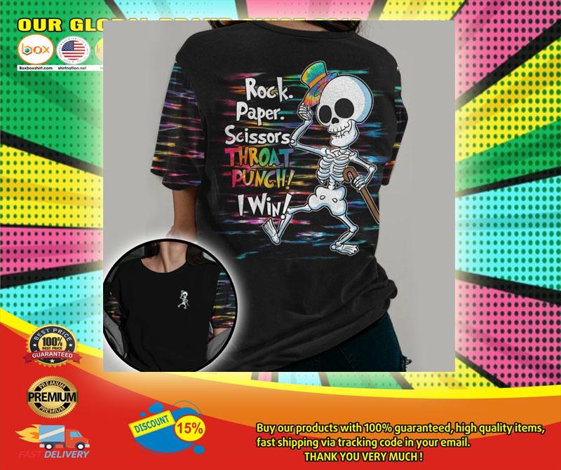 Skeleton rock paper throat punch I win 3D hoodie6