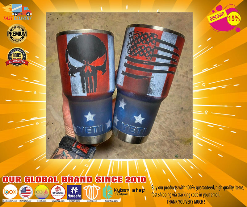 Skull American flag custom name tumbler2
