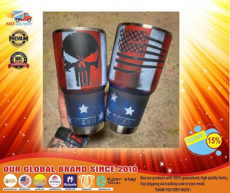 Skull American flag custom name tumbler3